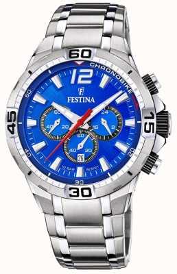 Festina Chrono bike 2020 cadran bleu bracelet argent F20522/2