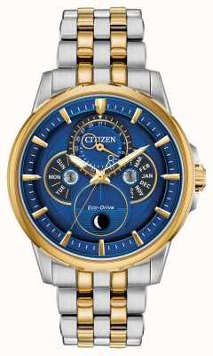 Citizen | hommes | éco-conduite | phase de lune | cadran bleu BU0054-52L