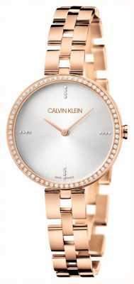 Calvin Klein Élégance   bracelet pvd en or rose   cadran argenté KBF23146