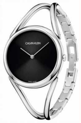 Calvin Klein Lady | bracelet jonc en acier inoxydable | cadran noir KBA23121
