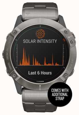 Garmin Fenix 6x pro solaire | bracelet en titane et bracelet orange 010-02157-24