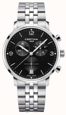 Certina Hommes | ds caimano | chronographe | cadran noir | inoxydable C0354171105700