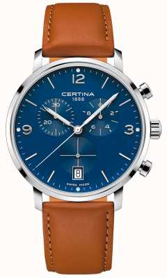 Certina Hommes | ds caimano | chronographe | cadran bleu | cuir marron C0354171604700