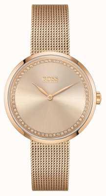 BOSS | louange des femmes | bracelet en maille d'acier or rose | cadran rose 1502548