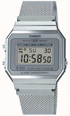 Casio | vintage | bracelet en maille d'acier | chronomètre | Rétro-éclairage LED A700WEM-7AEF