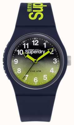 Superdry Lazer urbain | bracelet en silicone bleu marine | cadran citron vert / marine SYG198YU