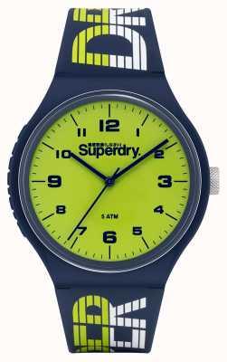Superdry Urban xl racing | bracelet en silicone bleu marine | cadran vert SYG269UN