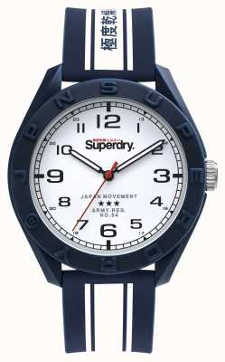 Superdry Utilitaire d'Osaka | bracelet en silicone bleu / blanc | cadran blanc SYG305UW