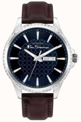 Ben Sherman   bracelet en cuir marron pour homme   cadran bleu BS029BR