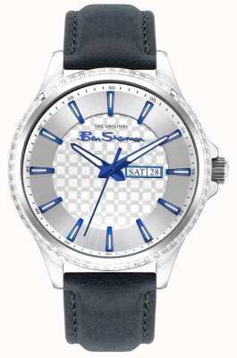 Ben Sherman | bracelet en cuir bleu pour homme | cadran argenté BS029U