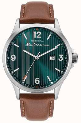 Ben Sherman | bracelet en cuir beige pour homme | cadran bleu à fines rayures BS030UBR