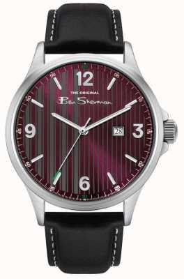 Ben Sherman | bracelet en cuir noir pour homme | cadran à fines rayures rouges BS030RB