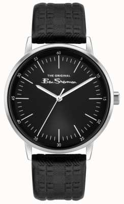 Ben Sherman | bracelet en cuir à carreaux noir pour hommes | cadran noir BS031BB