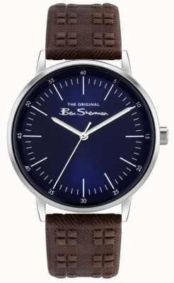 Ben Sherman | bracelet en cuir à carreaux marron pour homme | cadran bleu BS031BR