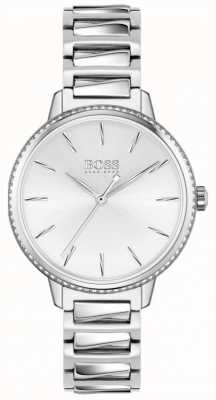 BOSS | signature des femmes | bracelet en acier inoxydable | cadran argenté 1502539