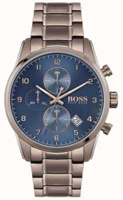 BOSS   skymaster homme   bracelet plaqué ion marron   cadran bleu 1513788