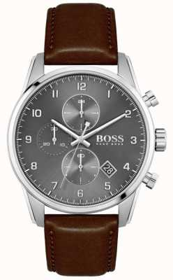 BOSS   skymaster homme   bracelet en cuir marron   cadran gris 1513787