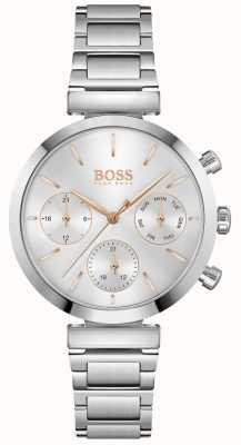 BOSS Impeccable | bracelet en acier inoxydable pour femme | cadran argenté 1502530
