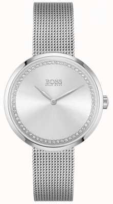 BOSS Louange | bracelet en maille d'acier pour femme | cadran en cristal argenté 1502546