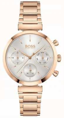 BOSS Impeccable | bracelet pvd en or rose pour femme | cadran argenté 1502531