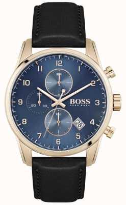 BOSS Skymaster   bracelet en cuir noir pour homme   cadran bleu 1513783