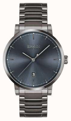 BOSS La confiance   bracelet plaqué ion gris   cadran bleu 1513793