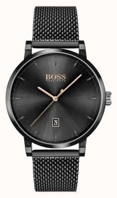 BOSS   la confiance des hommes   bracelet en maille noire   cadran noir 1513810