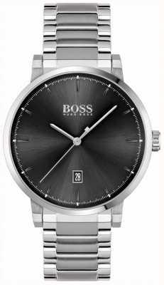 BOSS   la confiance des hommes   bracelet en acier inoxydable   cadran noir 1513792