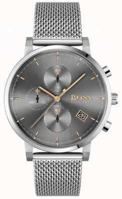 BOSS | l'intégrité des hommes | bracelet en maille d'acier | cadran gris / noir 1513807