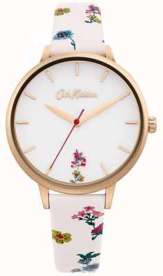 Cath Kidston | bracelet en cuir fleuri crème pour femme | cadran blanc CKL100WRG