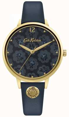 Cath Kidston | bracelet en cuir bleu marine pour femme | cadran fleuri CKL093UG
