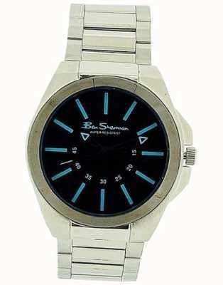 Ben Sherman   bracelet en cuir noir pour homme   cadran rectangle noir BS040B