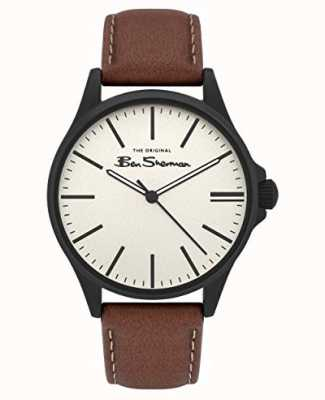 Ben Sherman   bracelet en cuir beige pour homme   cadran beige BS033T