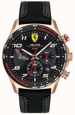Scuderia Ferrari | pilota pour hommes | bracelet en cuir / silicone noir | cadran noir 0830718
