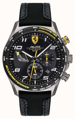 Scuderia Ferrari | pilota pour hommes | bracelet en silicone / cuir noir | cadran noir 0830719