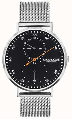 Coach | charles hommes | bracelet en maille d'acier | cadran noir 14602477