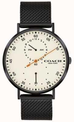 Coach | charles hommes | bracelet en maille noire | cadran blanc 14602480