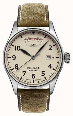 Iron Annie Contrôle de vol automatique | bracelet en cuir marron | cadran beige 5164-3