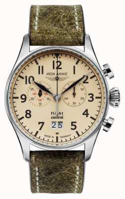 Iron Annie Quartz de contrôle de vol | bracelet vert olive | cadran beige 5186-5