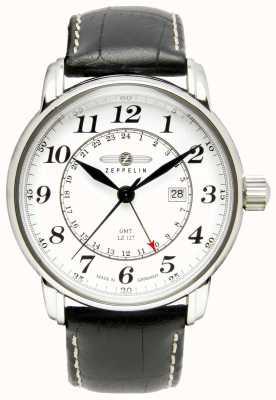 Zeppelin Lz 127 transatlantique gmt | bracelet en cuir noir | cadran blanc 7642-1