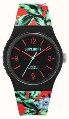 Superdry Urbain | bracelet en caoutchouc floral multicolore | cadran noir SYG298BN
