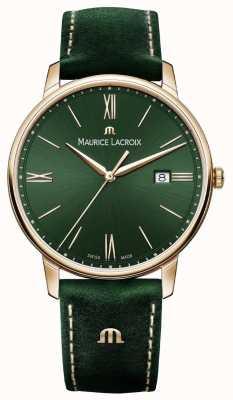 Maurice Lacroix Boîtier plaqué or avec bracelet en cuir vert fumé Elrios EL1118-PVP01-610-1