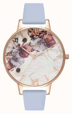 Olivia Burton Fleurs en marbre | bracelet en cuir bleu craie | cadran fleuri OB16MF10
