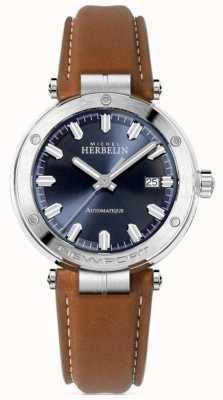 Michel Herbelin | newport pour hommes | bracelet en cuir marron | cadran bleu 1668/15GO