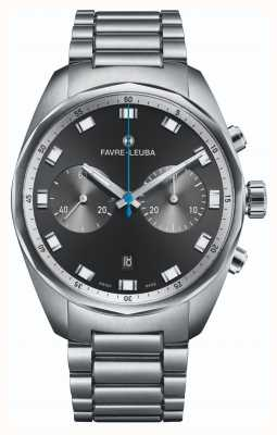 Favre Leuba Chronographe Sky Chief | bracelet en acier inoxydable | cadran noir 00.10202.08.11.20