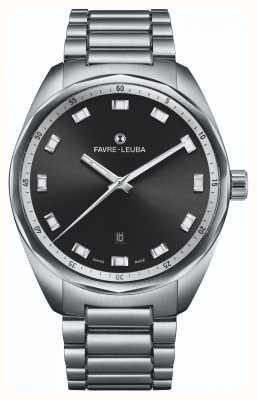 Favre Leuba Date du chef du ciel | bracelet en acier inoxydable | cadran noir 00.10201.08.11.20