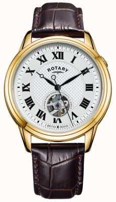 Rotary Cambridge automatique | bracelet en cuir marron | cadran argenté GS05368/70