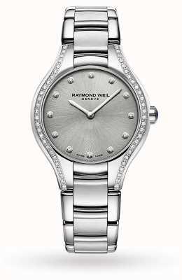 Raymond Weil Noémie des femmes | 64 diamants | acier inoxydable | cadran gris 5132-STS-65081