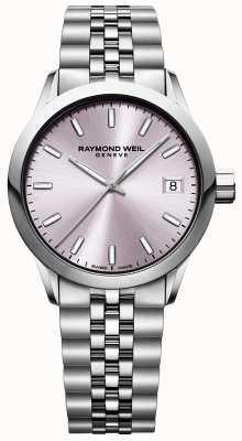 Raymond Weil Freelance pour femmes | bracelet en acier inoxydable | cadran rose 5634-ST-80021