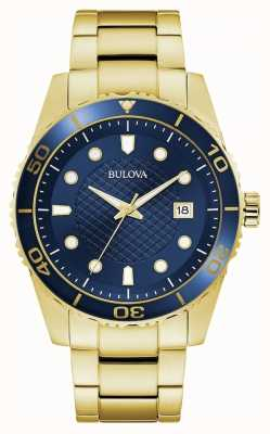 Bulova Sport | bracelet en acier inoxydable or | cadran bleu 98A197